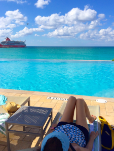 A pool-side view of the ship